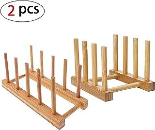 2 Pzs Rack de Almacenamiento de Bambú, Bandeja de Goteo Estante de Goteo Cocina Cesta de Vajilla Soporte de Plato de Madera de Bambú para Platos, tazas, CD, Copa de Vino,Reservar
