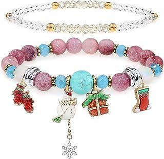 YooAi Braccialetti di Perline Multistrato Colorato Natura Pietra Yoga Perline Bracciali Corda Elastica di Natale Regolare ...