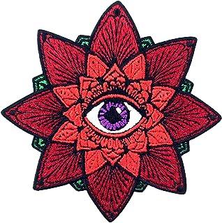 Toppa ricamata da applicare con ferro da stiro o cucitura, tema: L'occhio azteco
