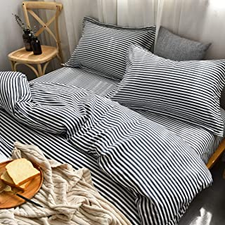 M&Meagle Lightweight Microfiber Duvet Cover Grey Blue,Navy Stripe Printed Pattern Bedding Sets with Zipper and Corner Ties for Women & Men's Bedroom-Queen Size(3Pcs,1 Duvet Cover+2Pillowcases)