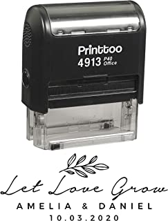 Printtoo Personalized Black Self Inking Let Love Grow Stamp Custom Wedding Favor Rubber Stamper-58 x 22 mm