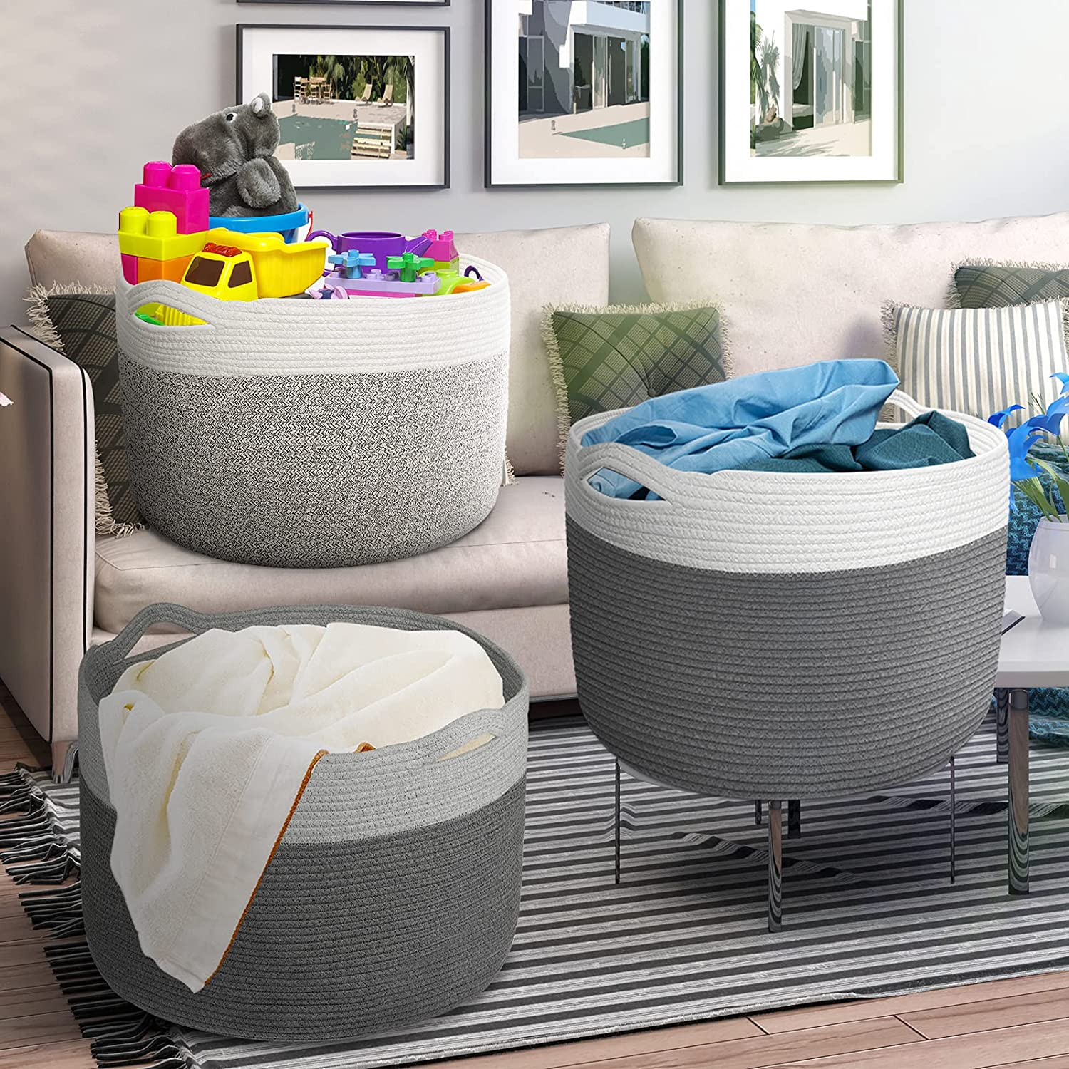 Spring new work one after another XXXL Large Woven Laundry Basket for New arrival Bl Cotton Rope