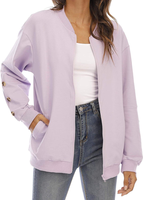 aladuo Women's Casual Zip Up Lightweight Sweatshirt Long Sleeve Jacket Coat with Pockets Purple Large