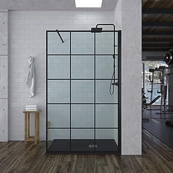 Mampara de ducha FIJA decorado INDUSTRIAL- vidrio 8MM - Tratamiento ANTICAL INCLUIDO - Incluye BRAZO DE SEGURIDAD (70 Cms, Negro): Amazon.es: Bricolaje y herramientas