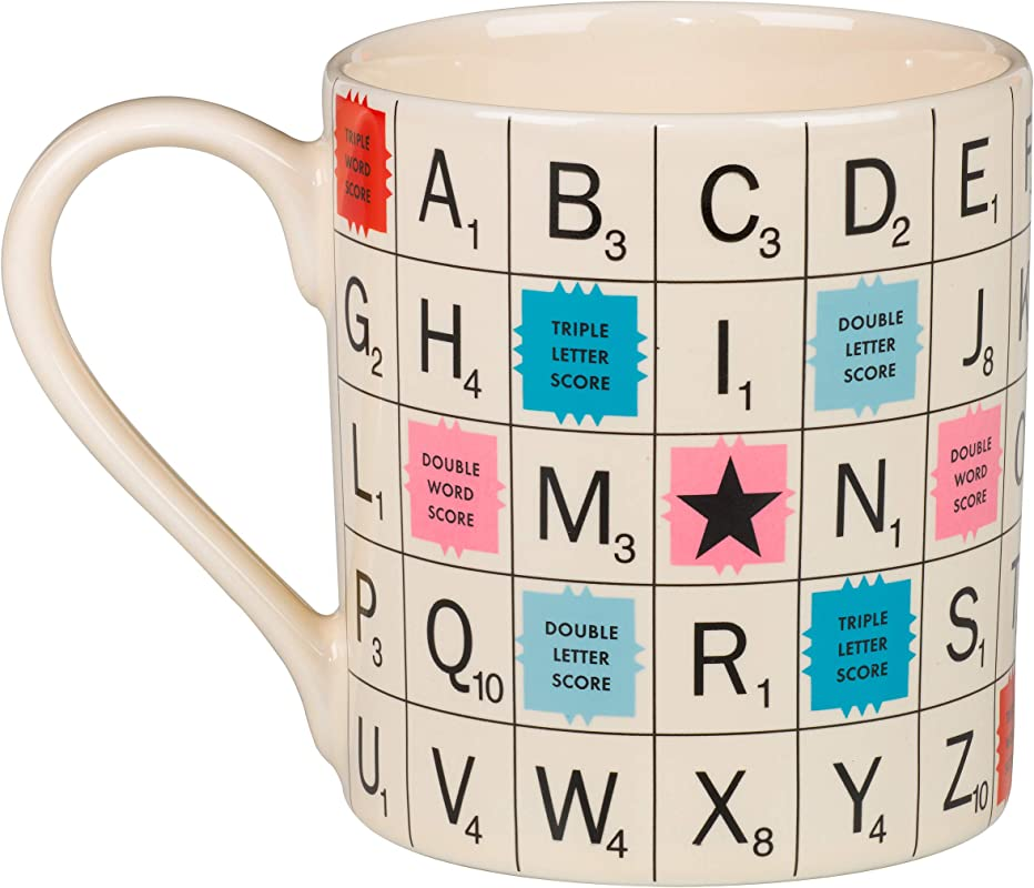 SCRABBLE ASCR163 Vintage Ceramic Coffee Mug 14 Oz Cream