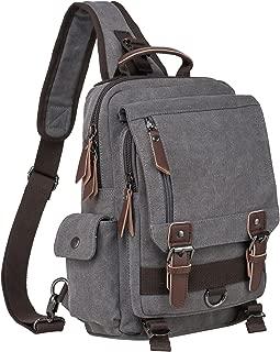Riavika Vintage Cross Body Messenger Bag Sling Bag Shoulder Backpack Travel Rucksack-Grey