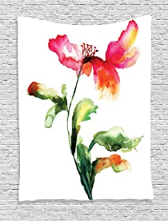 Houselife Watercolor Flower Tapestry Shaded Single Poppy Flowering Plant Muse Nature Earth Divine Grace Mattress, Tablecloth W80 x L60 inch Red Green