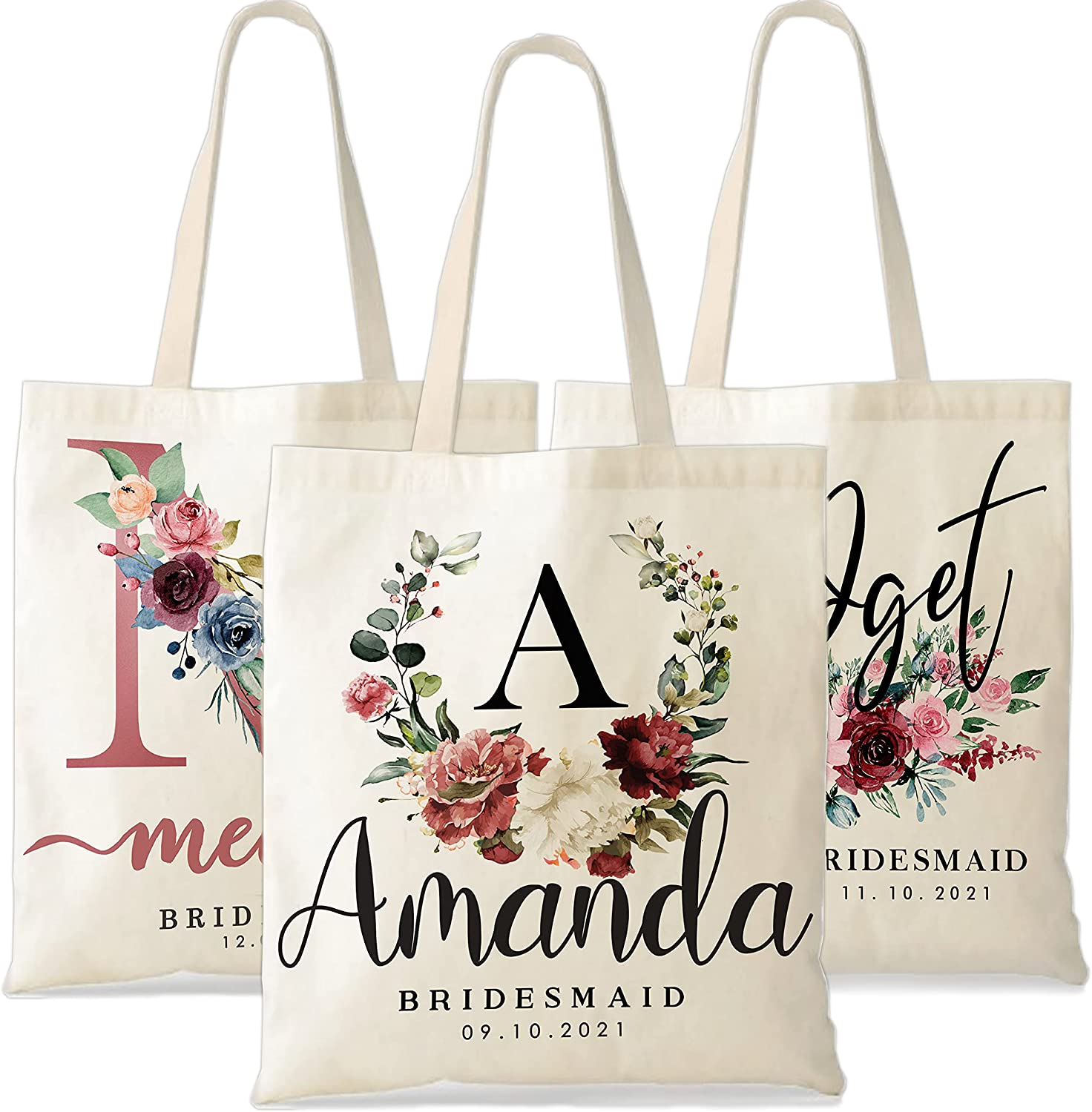 Alternative dealer Personalized Wedding Tote Bags Gift Customized - Flora Bride Discount mail order for