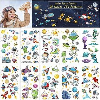 ZERHOK Rymdtatuering för barn, 20 ark yttre rymden tillfälliga klistermärken med rymdskepp solsystem astronaut universum f...