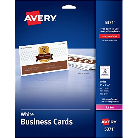 "AVERY 2"" x 3.5"" Business Cards, Sure Feed Technology, for Laser Printers, 250 Cards (5371), White (05371)"