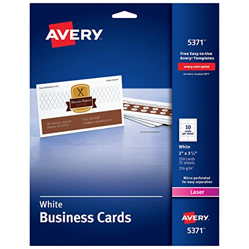 """AVERY 2"""" x 3.5"""" Business Cards, Sure Feed Technology, for Laser Printers, 250 Cards (5371), White (05371)"""