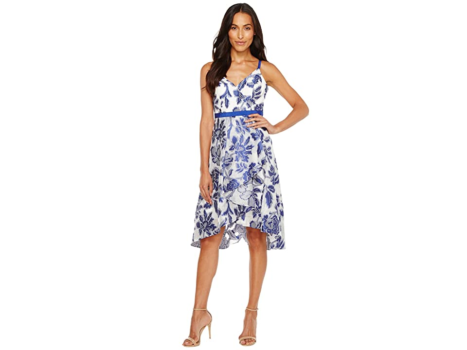 Adrianna Papell Burnout Jacquard Fit Flare Dress (Royal/Ivory) Women
