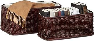 Relaxdays 10021116_531 Set 2 Corbeille Déco Panier Tressé en Palmier Buri Doublure Tissu Boîte de Rangement Décorative, Br...