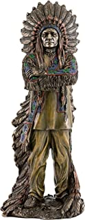 Top Collection Chief Sitting Bull with Crossed Arms Statue- Native American Sculpture with Beautiful Headdress in Premium Cold Cast Bronze- 11.25-Inch Collectible Indigenous Figurine