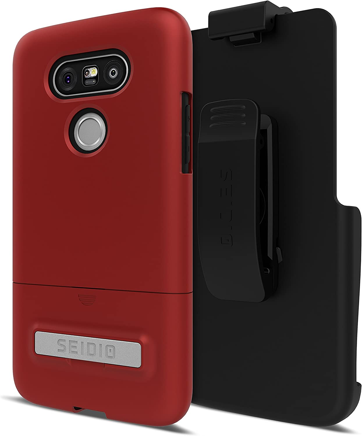 Seidio Surface Cell Phone Case with Kickstand and Holster for LG G5 - Retail Packaging - Dark Red/Black