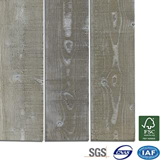 Wood Wall Panels, Solid Wood Planks DIY Easy Peel and Stick Wood Wall Paneling (12.4 sq.ft, Ash)