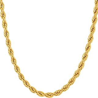 5mm Rope Chain Necklace 24k Real Gold Plated for Men Women Teen with Free Lifetime Replacement Guarantee