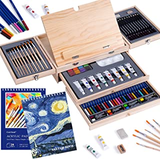 Art Set 85 Piece with Built-in Wooden Easel, 2 Drawing Pad, Art Supplies in Portable Wooden Case-Painting & Drawing Set Pr...