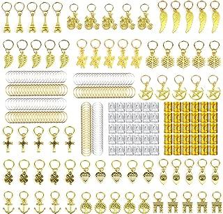 ZTWEDEN 210PCS Aluminum Hair Coil Dreadlocks Beads Hair Cuffs Hair Braids Clips Hair Decoration Braid Jewelry for Braids Accessories