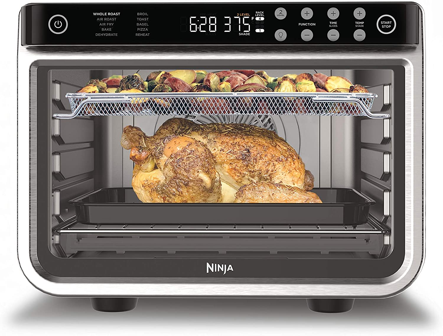 Ninja DT201 Foodi 10-in-1 XL Pro Air Fry Digital Countertop Convection Toaster Oven with Dehydrate and Reheat