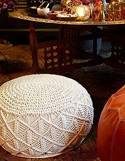 Knitt World Macrame Handmade Art Pouf Floor Ottoman - 100% Macrame Cotton Cord - Handmade & Hand Stitched - Truly one of a Kind Seating - 48 cm Dia x 23 cm H