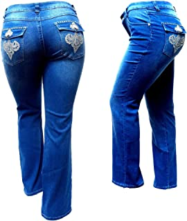 b625b5c2737 Jack David Women s Plus Size Blue Black Curvy Stretch Flap Pocket Skinny Bootcut  Denim