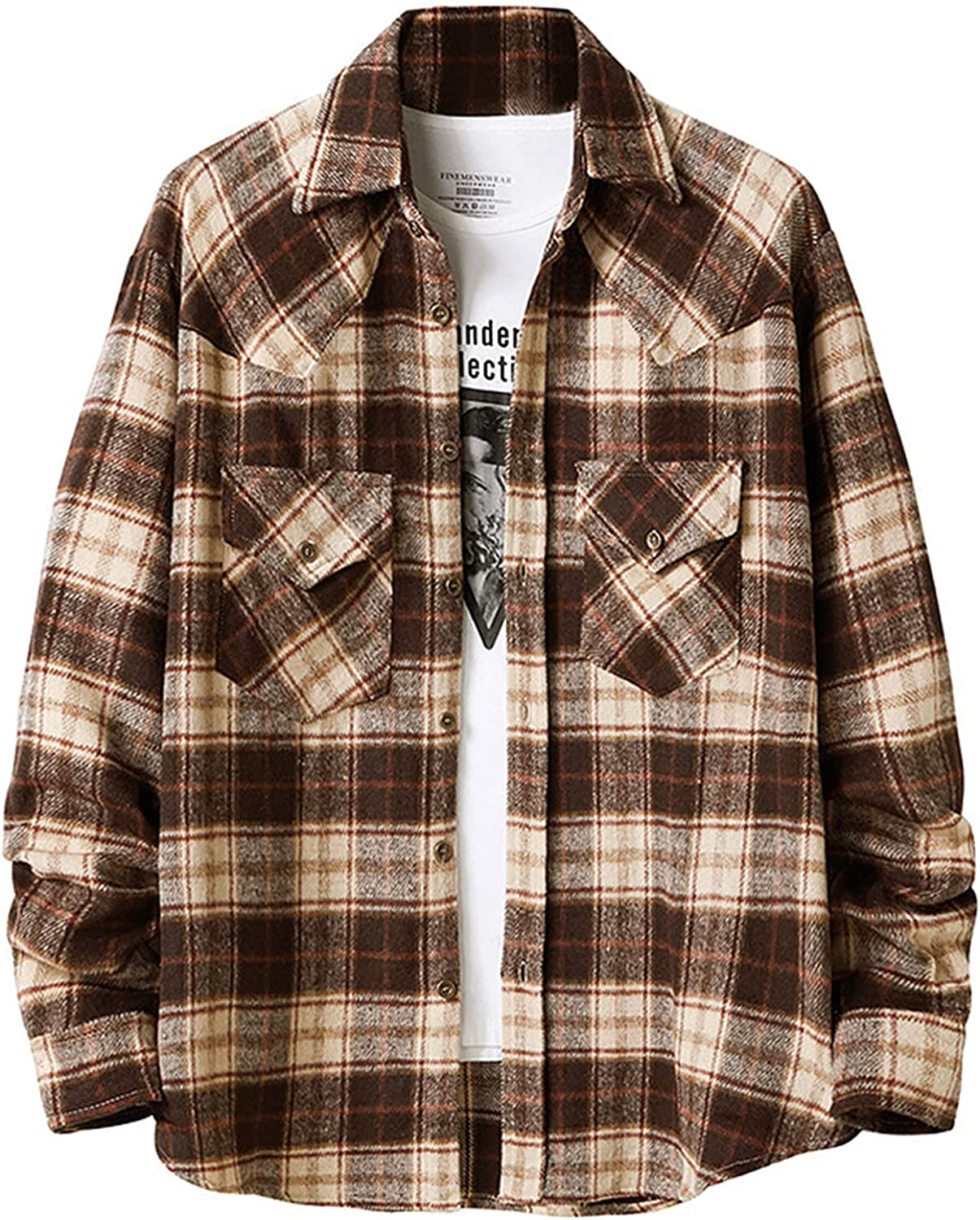 Shirt Jacket for Men Retro Plaid Flannel Button Down Long Sleeve Fuzzy Open Front Coat