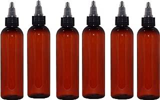 WM (Pack of 6) 4 oz. Amber Refillable, Reusable Empty Plastic Bottles w/Twist Open Yorker Cap – Mfg. USA DIY, Oils, Aromatherapy, Shampoo, Paint, Soap, Perfume, Moisturizer, Arts & Crafts, Juice