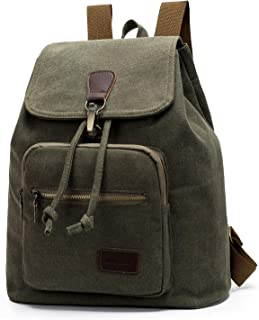 Hellofuture Canvas Backpack Vintage Drawstring Rucksack Casual Shoulder Bag Daypack with Alloy Hook Buckle for Men and Women