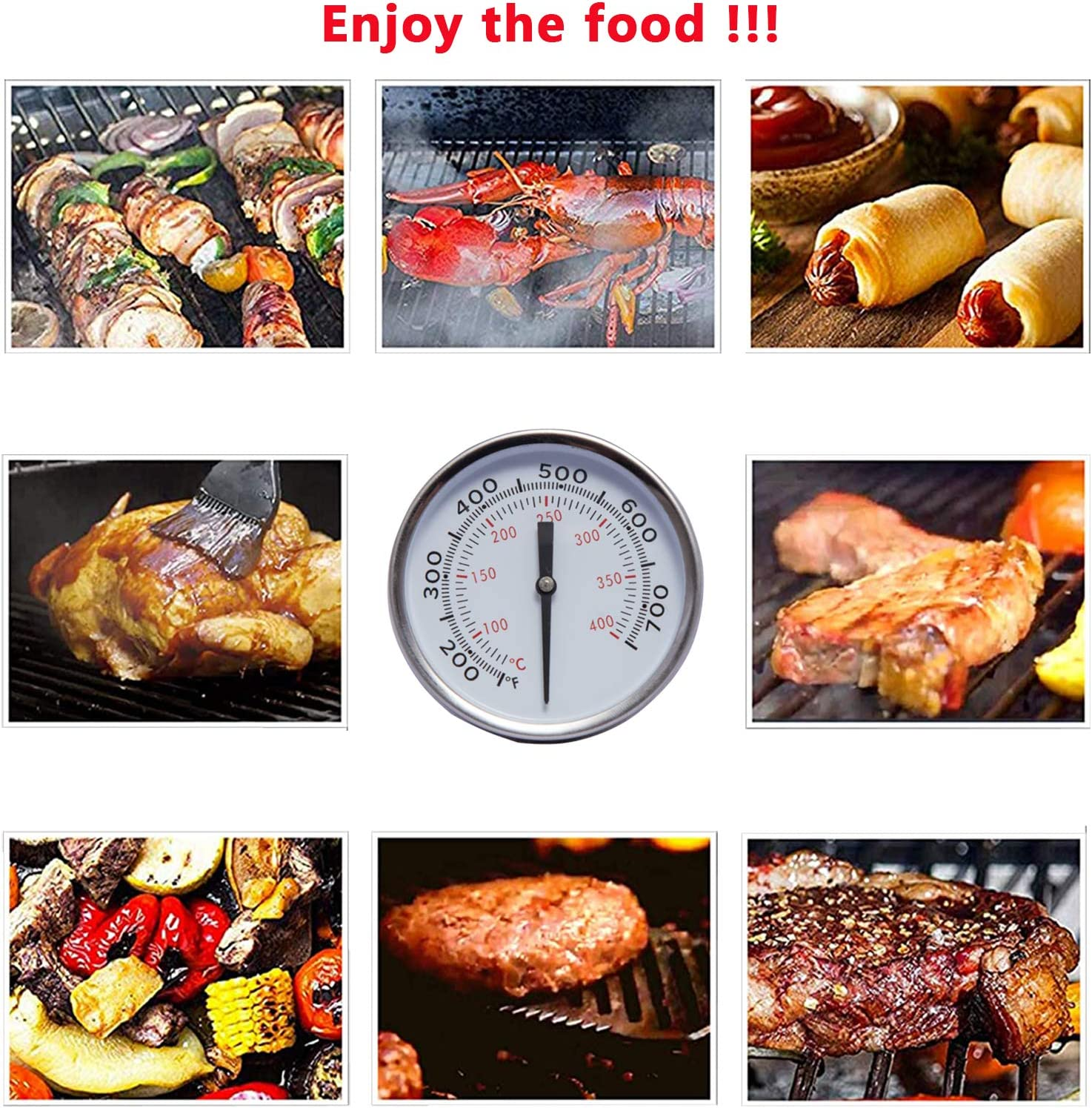 Black, 1 Pcs BBQ Thermometer Temperature Gauge Pit Grill Thermometer for Meat Cooking Port Lamb Beef Stainless Steel Temp Gauge YUIDDA 2 Smoker Thermometer