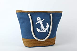 Vioaplem Fashion Polyester Shopping Tote Bag Shoulder Travel Beach Foldable School Handbag for Women (Color : Blue)