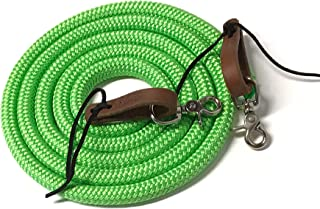 yacht rope rein with water loops and trigger snaps lime green