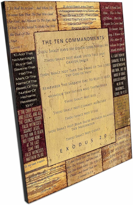 Spirit Truth Home Decor The price Ten Wall Sign Commandments Art Max 55% OFF Sea