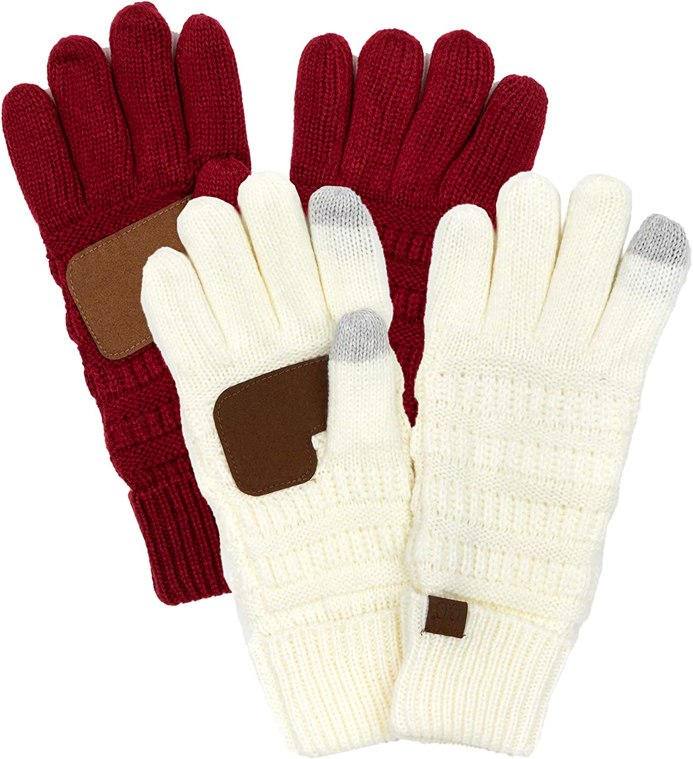 Lined Texting Gloves: Ivory & Red