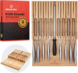 Knife Organizer Drawer Insert - Bamboo In Drawer Knife Block for Knife Storage - Knife Holder for 16 Knives - Saves Kitchen Counter Space