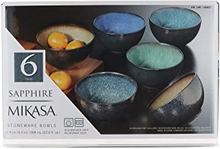 Mikasa Sapphire Stoneware Bowls   Set of 6 Bowls   Dishwasher Safe   Microwave Safe
