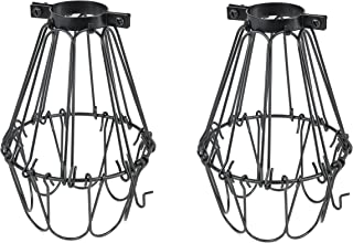 Rustic State Set of 2 Industrial Vintage Style | Hanging Pendant Metal Wire Cage | Light Fixture Lamp Guard | Adjustable Openings to Different Styles (Black)