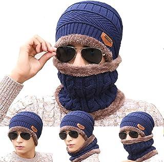 BSP Men Women Kid Beanie Hat Scarf Set Fleece Lining Knit Hat Warm Thick Winter Ski Unisex