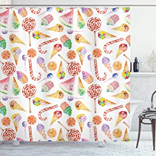 Colorful Shower Curtain, Ice Cream Candy Cakes Lollipop Clementine Fruits Cute Birthday Celebration Pattern, Fabric Bathro...