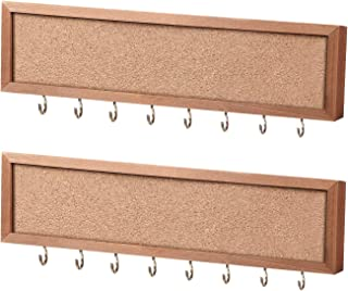 Y&ME Jewelry Organizer Wall Mounted Set of 3, Wood Hanging Jewelry Organizer Holder with Removable Bracelet Rod and 24 Hooks,for Hanging Rings, Earrings, Necklace Holder, 12.2 x 2 x 0.7 inch Brown