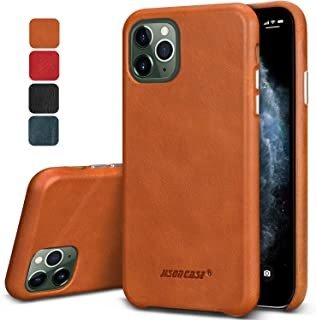"""JISONCASE iPhone 11 Pro Leather Case,Anti-Slip Ultra Slim iPhone 11 Pro Case with Wireless Charging Compatible, Shockproof Scratch Resistant Protective Cover for Apple iPhone 11 Pro-5.8"""" 2019 Brown"""