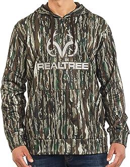 Realtree Mens Hooded Waffle Henley Long Sleeve Shirt Lightweight