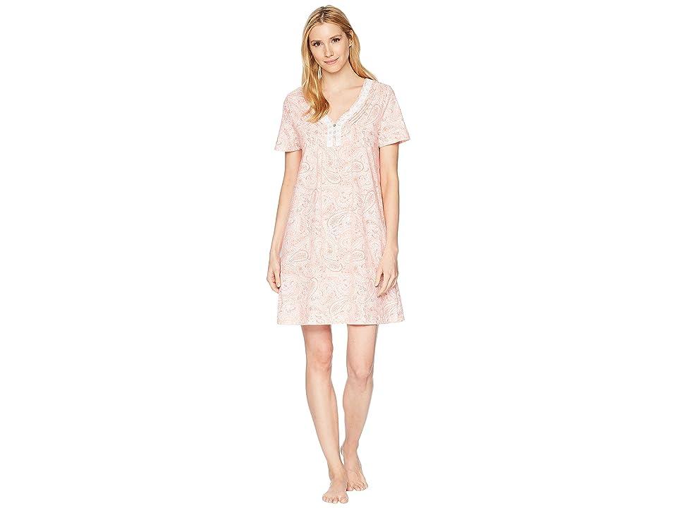 Carole Hochman Soft Jersey Short Sleeve Sleepshirt (Water Paisley) Women