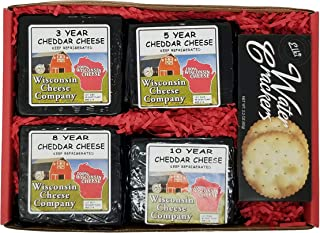 WISCONSIN CHEESE COMPANY'S - 100% Wisconsin Classic Elite Aged Cheddar Cheese & Cracker Gift Box, Holiday Gift Baskets wit...