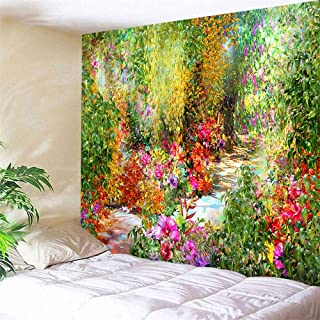 Flower Tapestry Colorful Floral Plants Tapestry Spring Theme Mystic Secret Garden Wild Flower Tapestry Wall Hanging Dorm Decor Wall Tapestries For Living Room Bedroom Picnic Wall Decor 80x60 inches