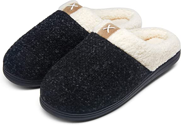 Jousen Men's Slippers Memory Foam with Warm Fuzzy Plush Indoor Outdoor House Slippers for Men…