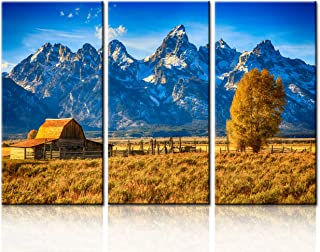 TUMOVO Native American Pictures Cabin Artwork for Walls Country Pictures Grand Canyon Painting 3 Panel Canvas Home Decor for Living Room Giclee Wooden Framed Gallery-Wrapped Ready to Hang(40''x60'')
