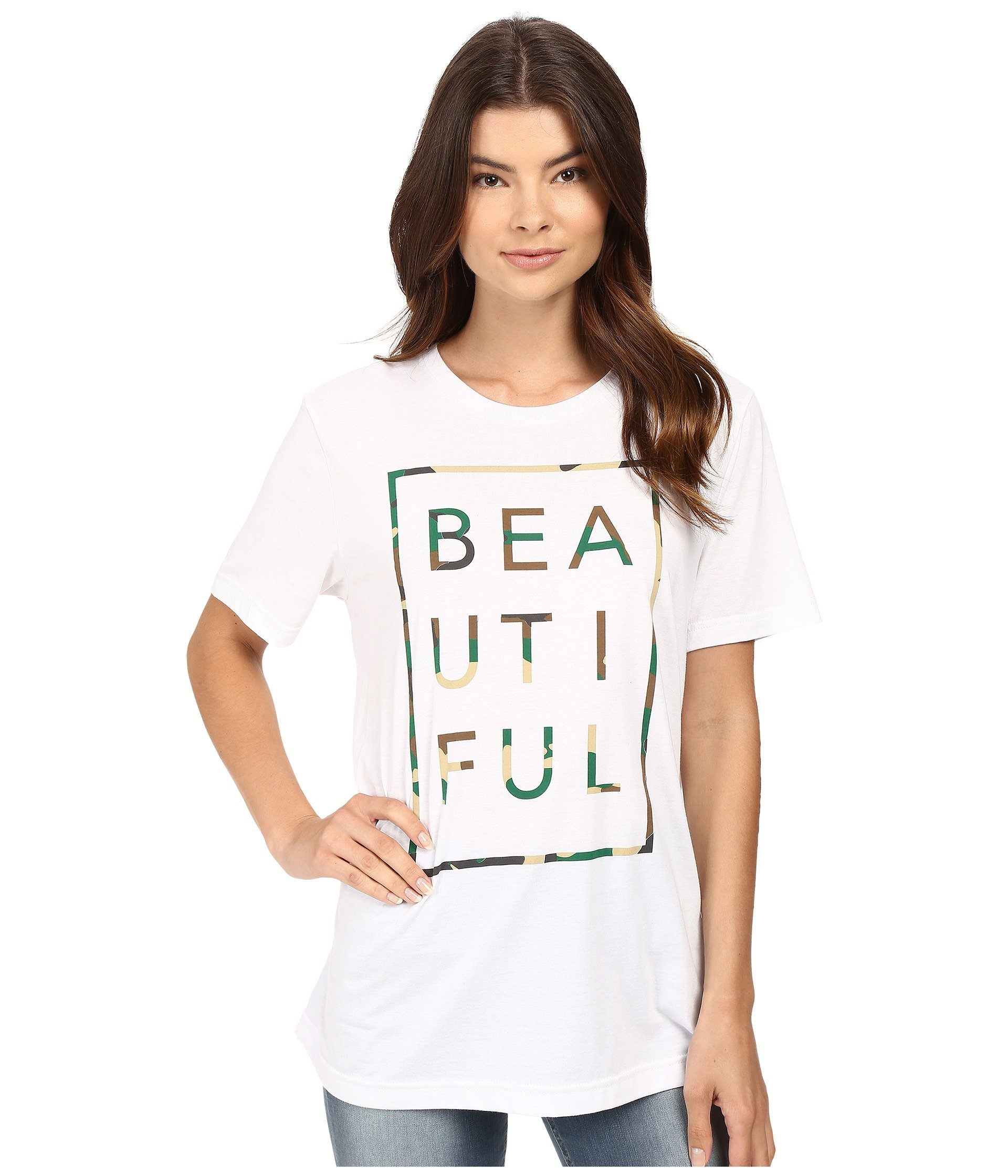 Beautiful Life White Crew camo Tee Box Is Neck qq61ncr5YW