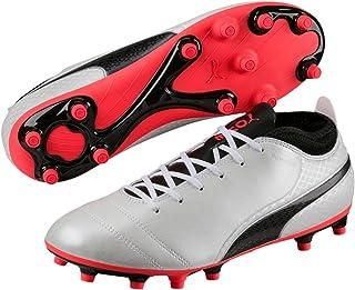 PUMA Men's Puma One Wht-Blk-Fiery, White, Football boots