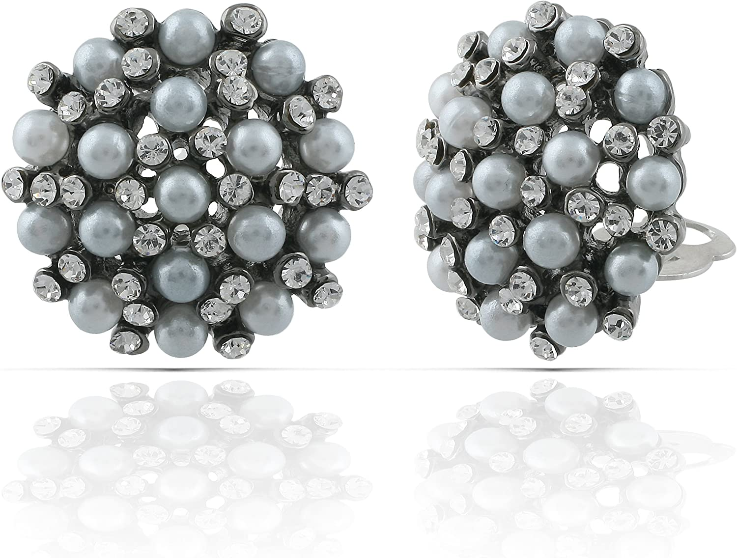 JanKuo Jewelry Black Rhodium Plated Vintage Style Simulated Pearls with Crystal Stones Clip On Earrings